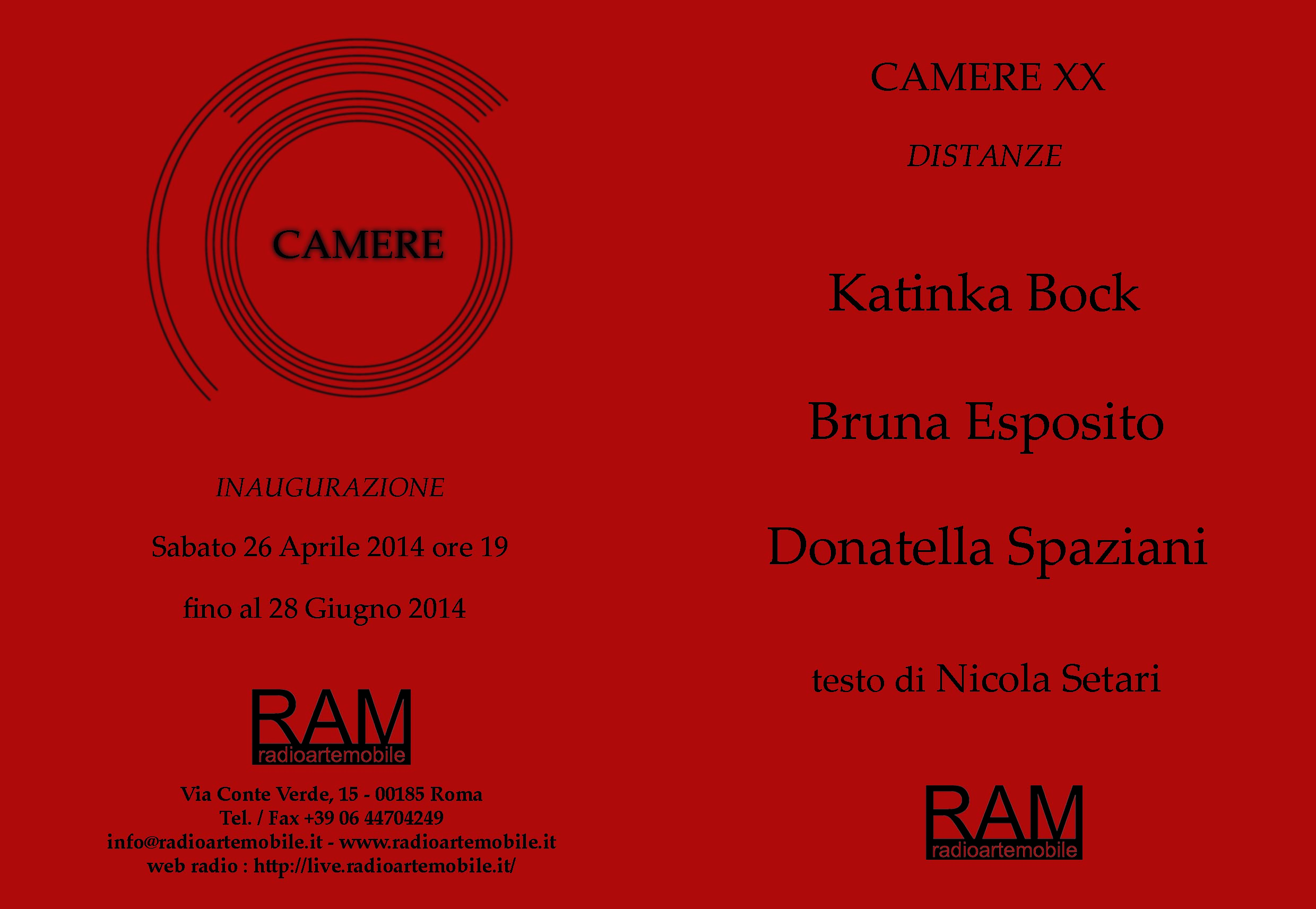 Invitation to Camere XX, ram